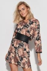 Mini Sukienka w Kwiaty ze Skórzanym Pasem - Wzór 14