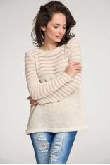 Beżowy Sweter z Transparentnymi Paskami