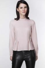 Różowa Elegancka Bluzka z Długim Rękawem z Baskinką