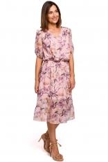 Zwiewna Szyfonowa Sukienka w Kwiaty z Falbanką - Model 2