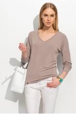 Cappuccino Klasyczny Luźny Sweter z Dekoltem w Szpic