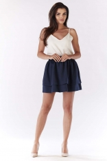 Granatowa Spódnica Mini z Podwójną Falbanką