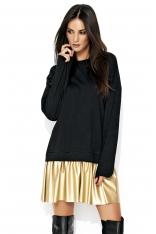 Wygodna Czarno-Złota Sukienka z Obniżonym Stanem z Dołem z Eko-Skóry