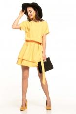 Żółta Kobieca Sukienka z Podwójną Spódnicą