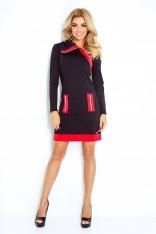 Czarno Czerwona Sukienka Ołówkowa z Kontrastowymi Suwakami