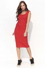 Czerwona Dopasowana Sukienka Midi na Szerokich Ramiączkach