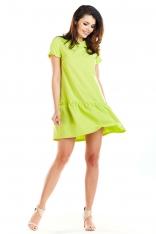 Limonkowa Sukienka z Obniżoną Talią z Falbankami przy Rękawach