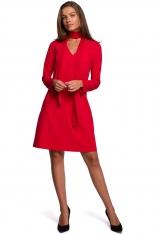 Trapezowa Sukienka z Szyfonowym Szalem  - Czerwona