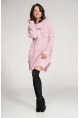 Różowy Sweter Długi z Szerokim Golfem