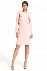 Różowa Elegancka Wizytowa Sukienka z Pionowymi Falbankami