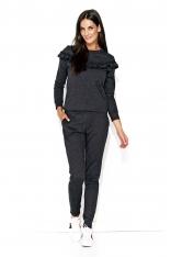 Grafitowy Komfortowy Komplet Bluza ze Spodniami