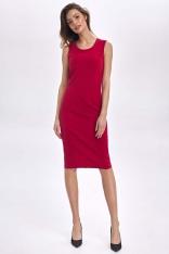 Czerwona Klasyczna Dopasowana Sukienka bez Rękawów
