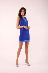 Kobaltowa Krótka Sukienka bez Rękawów z Koronkowymi Wstawkami