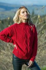 Czerwony Ciepły Sweter z Ozdobnym Wzorem
