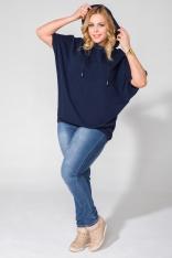 Oversizowa Granatowa Bluzka z Krótkim Rękawem z Kapturem Plus Size