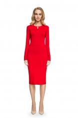 Ołówkowa Wyszczuplająca Sukienka z Łezką z Przodu - Czerwona