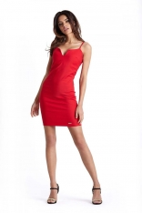 Ołówkowa Czerwona Sukienka na Cienkich Ramiączkach