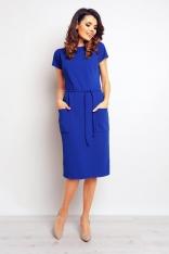 Niebieska Casualowa Sukienka z Kieszeniami i Wiązaniem