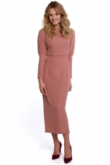 Długa Sukienka z Pęknięciem na Plecach - Różowa