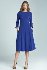 Niebieska Elegancka Sukienka z Dekoltem na Plecach