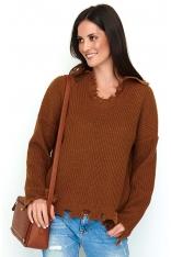 Brązowy Casualowy Oversizowy Sweter z Efektem Rozdarcia