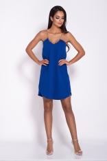 Niebieska Elegancka Luźna Sukienka z Wydłużonym tyłem na Wesele