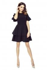 Czarna Sukienka z Rozkloszowanym Rękawem