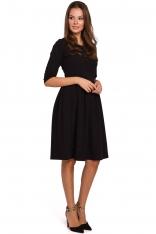 Czarna Rozkloszowana Sukienka z Rękawem za Łokcie