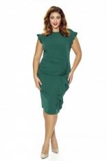 Stylowa Zielona Sukienka z Falbanką PLUS SIZE