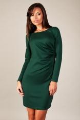 Zielona Klasyczna Dopasowana Sukienka Drapowana na Boku z Długim Rękawem