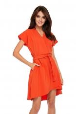 Pomarańczowa Sukienka Kopertowa z Motylkowym Rękawem