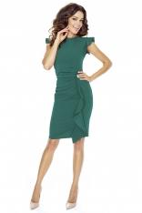 Zielona Sukienka Mini z Falbaną i Motylkowym Rękawkiem