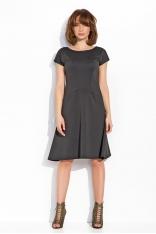 Czarna Delikatnie Rozkloszowana Sukienka Midi z Kieszeniami