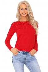 Czerwony Klasyczny Sweter z Perełkami