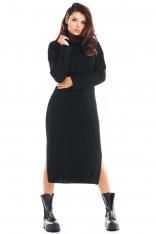 Czarna Swetrowa Sukienka z Golfem w Pionowe Prążki