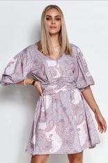 Sukienka w Kwiaty z Bufiastym Rękawem  - Wzór 26