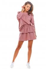 Różowa Rozkloszowana Mini Spódnica z Falbanką