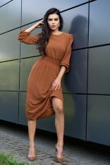 Midi Sukienka z Bufiastym Rękawem - Kamelowa