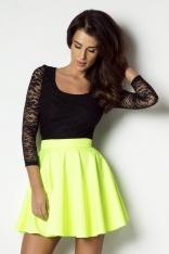 Limonkowa Rozkloszowana Spódnica Mini