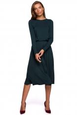 Rozkloszowana Sukienka z Rozcięciem - Zielona