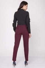 Bordowe Klasyczne Eleganckie Spodnie w Kant