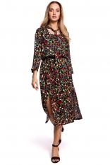 Sukienka Midi w Kwiatki z Rozcięciem z Przodu - Model 6