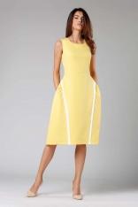 Żółta Rozkloszowana Sukienka bez Rękawów z Wypustkami