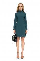 Zielona Wizytowa Sukienka z Tiulowymi Wstawkami