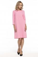 Trapezowa Różowa Sukienka z Kołnierzykiem JACKIE KENNEDY