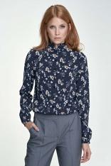 Granatowa Bluzka Koszulowa ze Stójką Wzór w Kwiaty