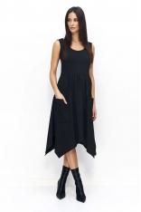 Czarna Wyjściowa Sukienka z Asymetrycznym Dołem