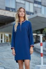 Granatowa Codzienna Sukienka Oversize z Suwakami