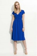 Chabrowa Sukienka Midi z Marszczeniami