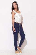 Komfortowe Granatowe Spodnie z Wiązaniem